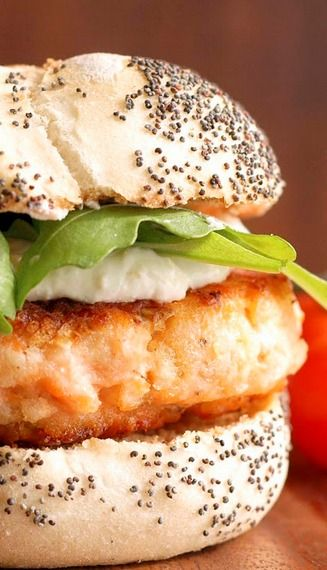 Salmon Burgers with Horseradish Cream. (Made with Greek yogurt.)