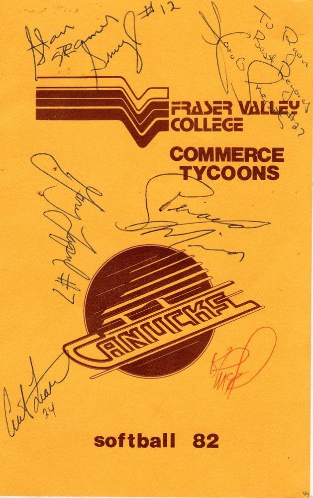 6 VANCOUVER CANUCKS HOCKEY PLAYERS SIGNATURE TOGETHER ON ONE PROGRAME '82
