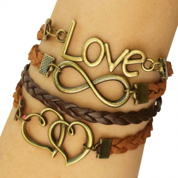 Brown Love and Hearts Arm Party Bracelet
