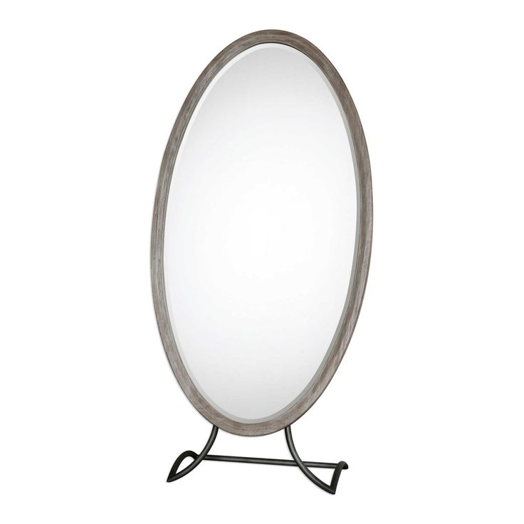 Arlon Cheval Mirror. Stately, free standing, solid mahogany frame finished in a lightly distressed aged whitewash with an exposed, honey stained back.  The hand forged metal stand is finished in a wrought iron black.  Mirror has a generous 3cm bevel.  Dimensions:H:184cm, W:91cm, D: 39cm  Weight:23kg