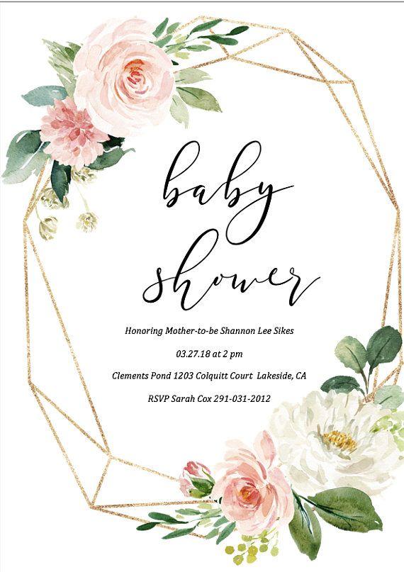 Baby Shower Invitation Girl, Blush Pink & Gold Glitter Invite, Baby Girl Shower, Baby Shower Package