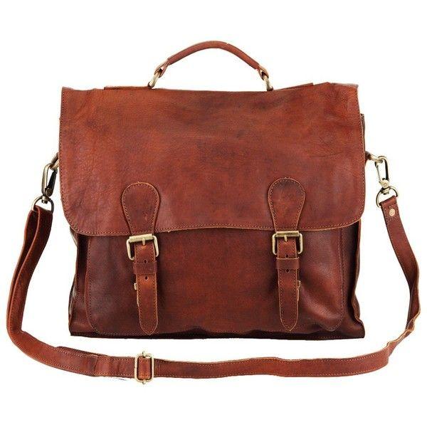 The Messenger ($120) ❤ liked on Polyvore featuring bags, messenger bags, leather satchel handbags, vintage leather satchel, brown satchel handbag and leather laptop messenger bag