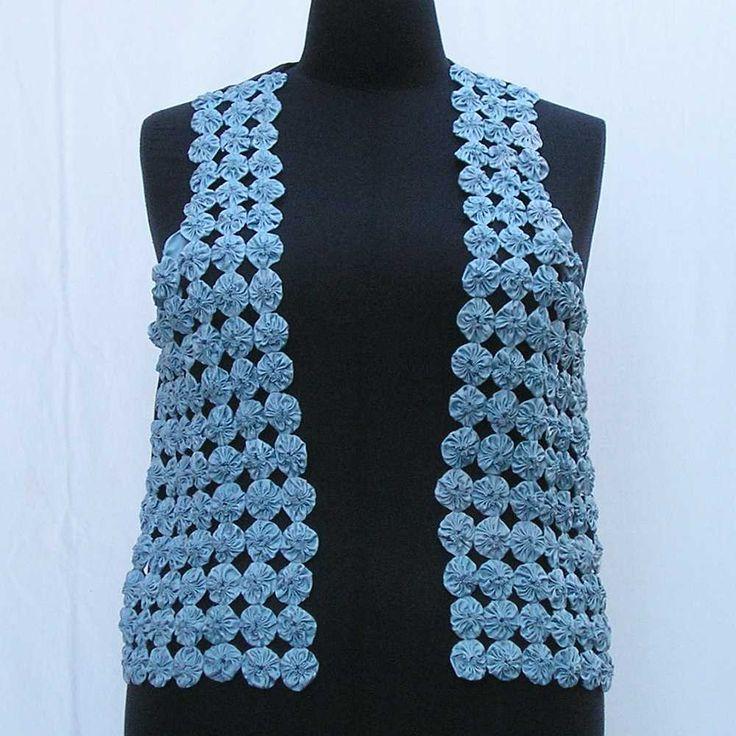 Pale blue yo yo vest, plus size yo yo vest, plus size vest, plus size waistcoat, suffolk puff vest, au 20 uk 18 us 16 M L XL blue satin vest by Rethreading on Etsy