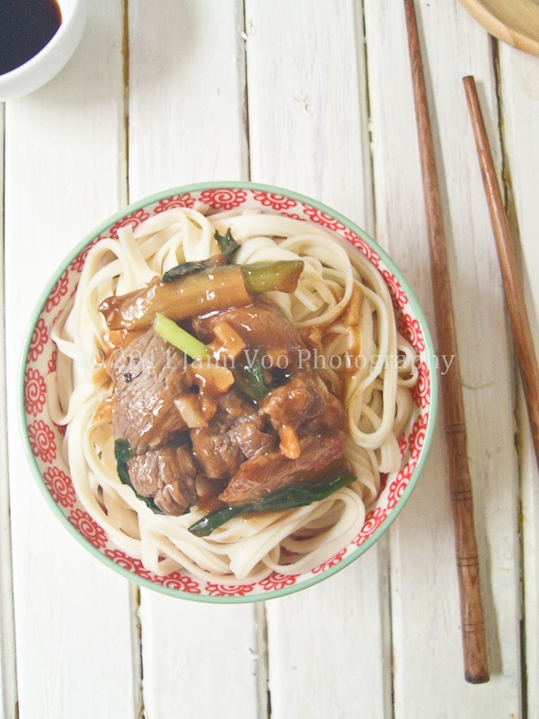 ginger scallion (green onions) beef noodles #recipe #yum