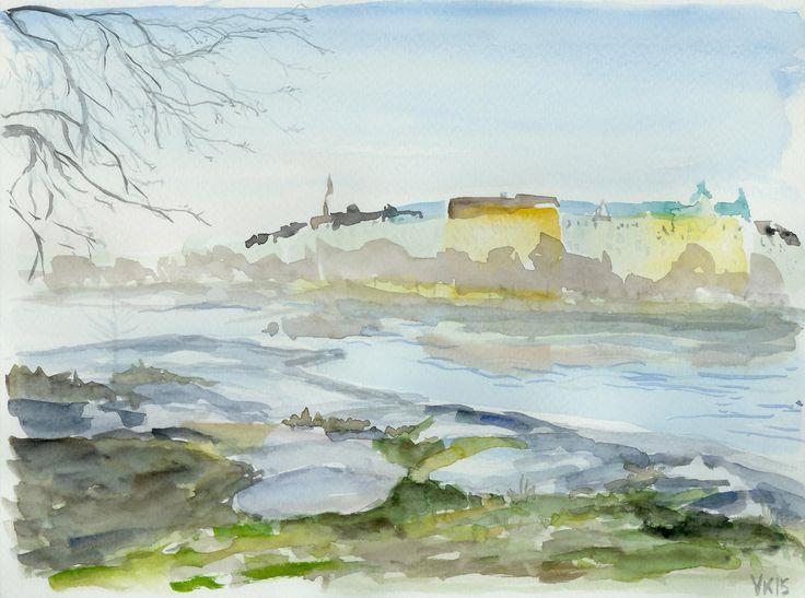 Kaivopuisto park in Helsinki viewed from Uunisaari island. Original watercolor painting by Virpi Kivinen. #kaivopuisto #watercolor #painting #originalart #helsinki #finland #finnishart #earlymorningwalk #landscape #art