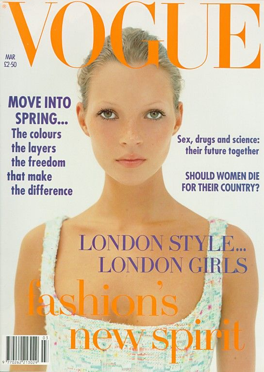 Kate Moss 1th Vogue Cover March 1993 Photographer Corinne Day