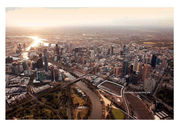 Beautiful aerial shot of #Melbourne depicting the Federation Square East site - image by Peter Glenane
