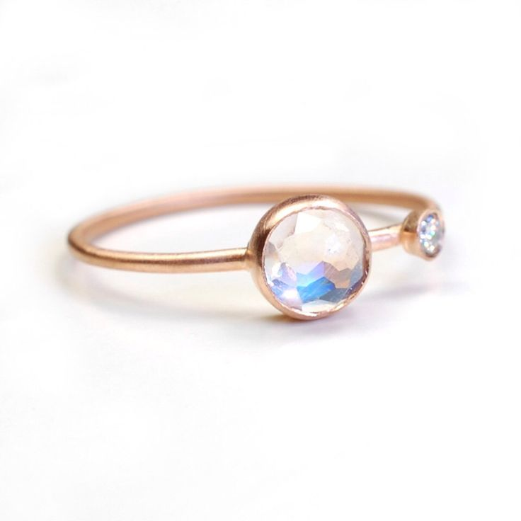 Rose Cut Moonstone Ring, Moonstone and Diamond Ring, Moonstone Ring, Asymmetrical, Blue Flash, Rose Gold Ring, June Birthstone, Nixin by NIXIN on Etsy https://www.etsy.com/listing/161158899/rose-cut-moonstone-ring-moonstone-and