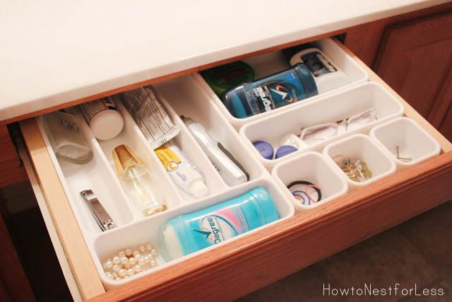 Junk Drawer organization!  Use sticky circle sticker grips on bottom to make them stay in place.