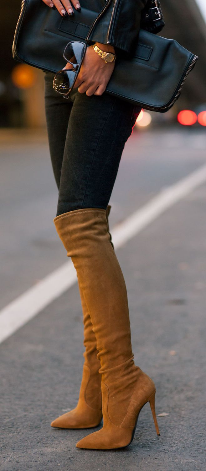 Street fashion for fall chic..... Over-The-Knee-Boots Trend, 2014: Johanna Olsson is wearing a pair of over-the-knee-boots from Giuseppe Zanotti