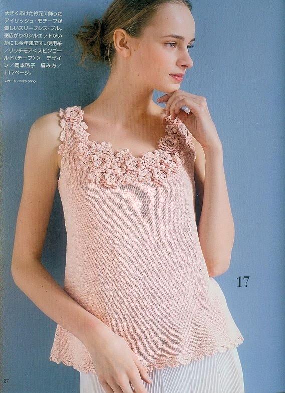Mrs. Patricia Crochet: Camiseta com Florzinhas de crochê no decote - Que charme!