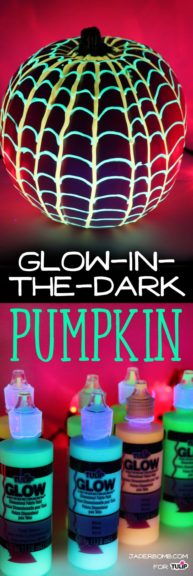Make this glow in the dark pumpkin using Tulip Dimensional Paint in your favorite glow colors!  It looks great under blacklight for a blacklight party decoration! Project by @Jader