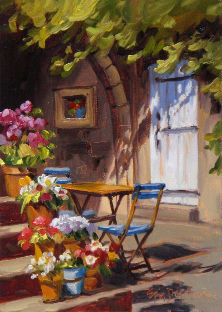 """French Flowers"" ~ 7x5 - Original Oil painting on Canvas panel by Erin Dertner - From the artist: ""This scene is from a cottage in the hamlet of Avejan, about an hour or so from Avignon…"""