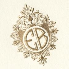 Two Letter Monogram, Art Deco, Gold Foil, Crest