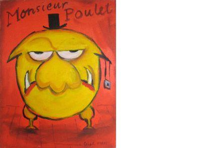 Leigh Hobbs - original artwork, 'Monsieur Poulet (Mr Chicken).'