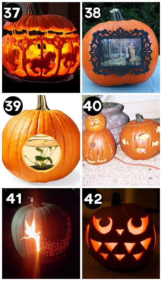 Clever pumpkin carving ideas!  I wanna try #35 and #37