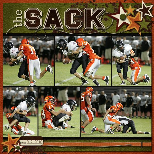 the Sack - Scrapbook.com - #scrapbooking #layouts #digital #football