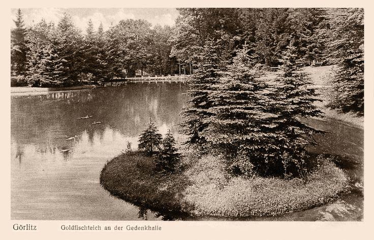 Görlitz, der Goldfischteich an der Oberlausitzer Gedenkhalle im Jahr 1934 - Die Postkarte lief am 3.8.1934 von Görlitz nach Bad Sulza.