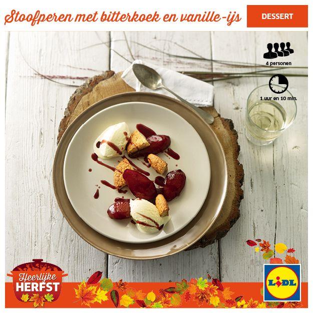 Stoofperen met bitterkoek en vanille-ijs #Lidl #Herfst