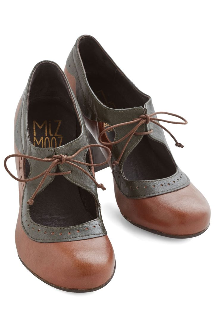 Fit for the Forest Heel by Miz Mooz - Mid, Leather, Brown, Solid, Work, Vintage Inspired, 20s, Best, Lace Up, Green