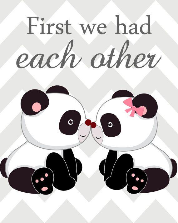 Vivero arte trío Panda vivero impresiones rosa y gris