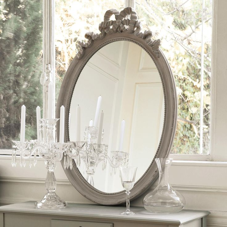 Miroir ovale en bois taupe h 95 cm bianca maisons du for Maison du monde 5 bd montmartre