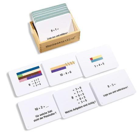 Arbeitskartei mit Montessori-Selbstkontrolle. Speziell für den Zahlenraum bis 10.