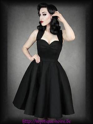 Rockabilly Vintage Kleid schwarz mit Petticoat Satin 40er 50er Gothic PinUp