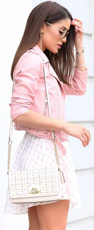 This cropped pink jacket + wonderful alternative to classic black biker jacket + Camila Coelho + super cute gingham mini skirt + playful summer style  Dress: Lovers and Friend, Jacket: Zara, Sandals: Aquazurra.