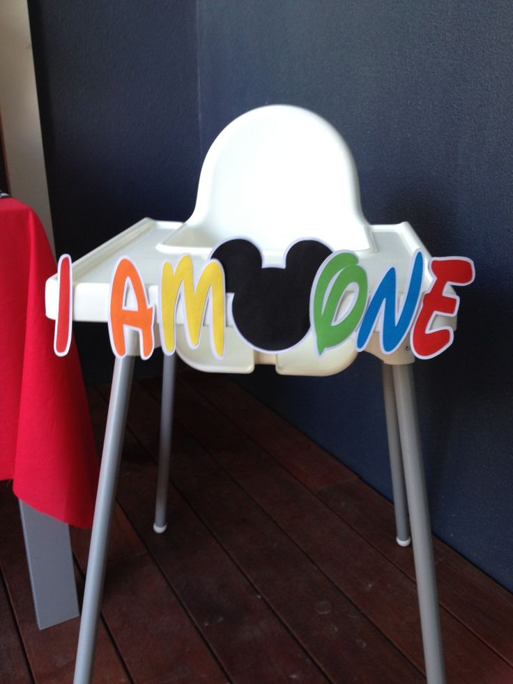 Free Mickey Mouse High Chair Banner to download and print at home - by Cake Crusaders Blog.com