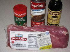 Mom's Crock Pot pork loin Roast- Poor man's Beef Roast!! Used two cans condensed…   – pork