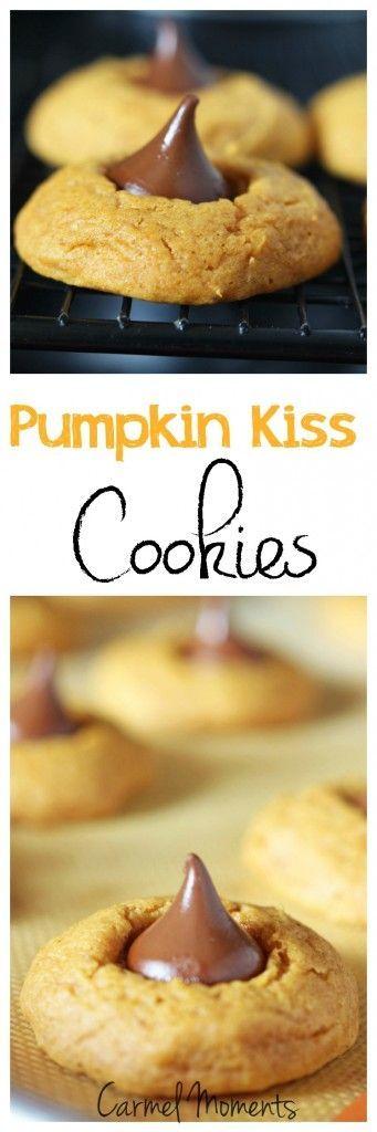 Pumpkin Kiss Cookies - Soft pumpkin cookies sealed with a kiss! // gatherforbread.com