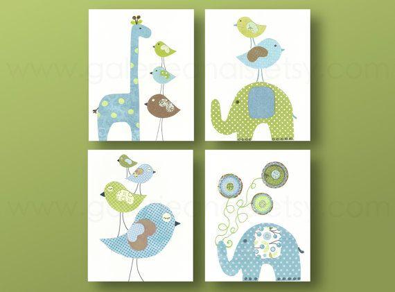 Giraffe birds elephant Blue green Kids art kids room decor baby nursery art children art Set of four prints by GalerieAnais