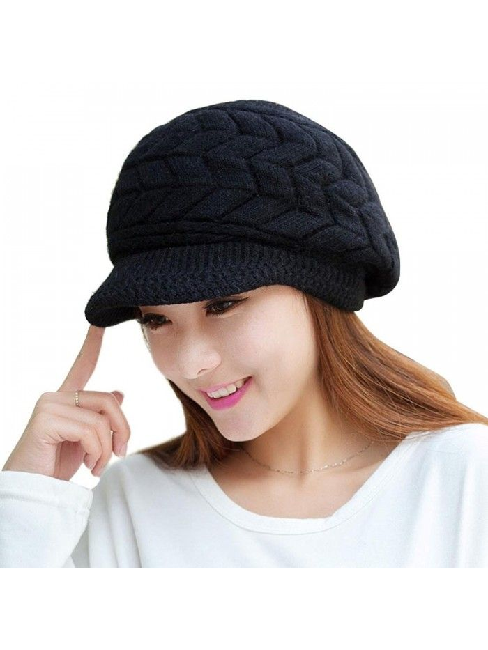 a1afa6226 Womens Winter Warm Knitted Hats Slouchy Wool Beanie Hat Cold Weather ...