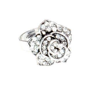 Pierścionek Vintage z Kryształkami Kwiat #ring #vintage #pierscionek