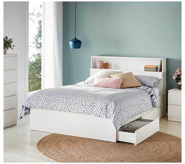 Como Double Bed With Storage In White Double Bed Storage Doublebedstorage In 2021 Double Bed With Storage White Bed Frame Bed Frame With Storage