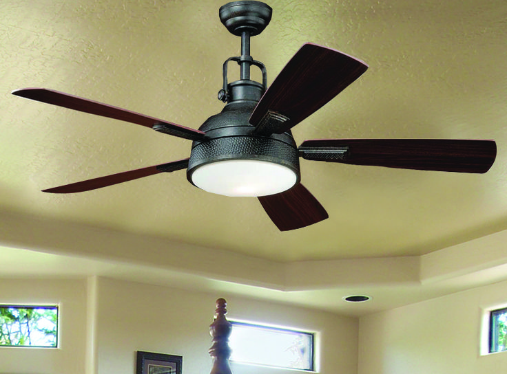 Turn of the Century® Lafitte 52'' Gold Stone Transitional Ceiling Fan with five Reversible Mocha/Dark Bronze Blades and Frosted Opal Glass Shade.