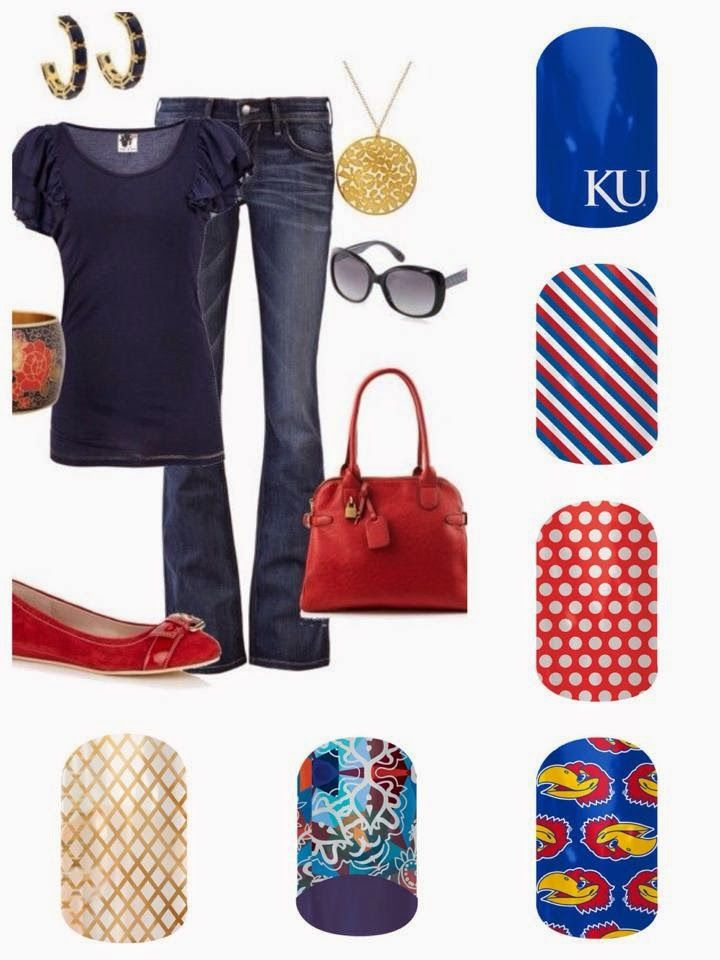 Are You Ready for Some Sports Jamberry Style? University of Kansas (KU) outfit with Jamberry nails