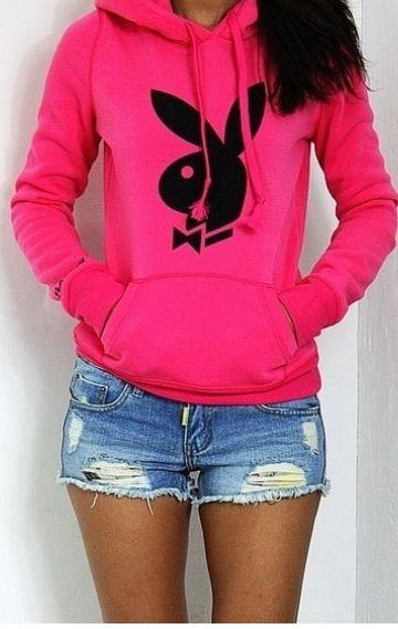 Cute pink playboy hoodie