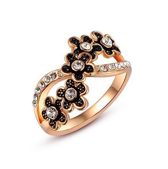 Мода черный хрустальный цветок женщины круглые Кольца Для леди девушки роуз позолоченные bague женщины ювелирные изделия кольца KNE20164
