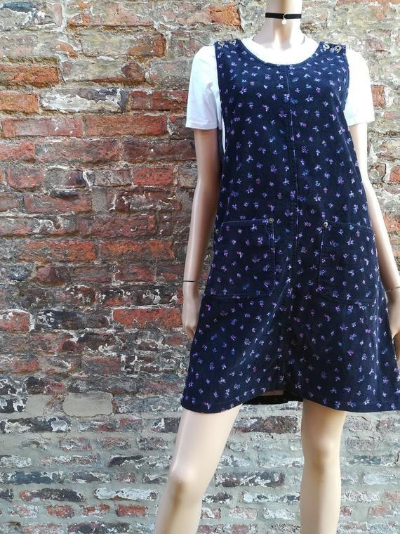 7cf8b4dd8fd Vintage 90s navy blue corduroy pinafore dress with purple ditsy print - dungaree  dress with pockets - J.L.N.Y Dress - UK M 10 12 14