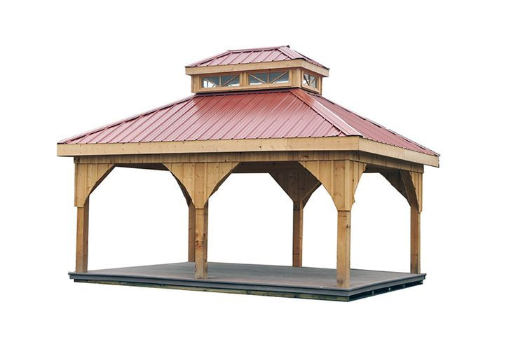 14 x 16 cedar pavilion with metal roof and cupola for for Metal hip roof