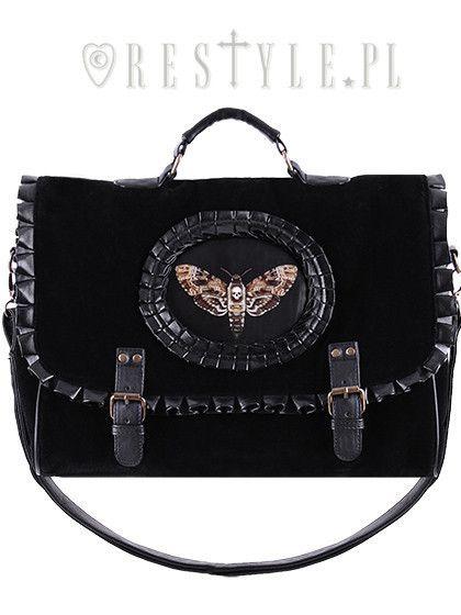 """Briefcase """"MOTH BLACK"""" satchel black velvet cameo bag, gothic handbag A4"""