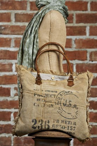 Vintage Ink Stamped Recycled Canvas Weekender | Coastal Farmhouse