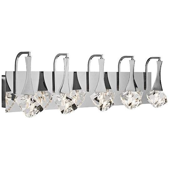 Elan Rockne Chrome 5-Light 32-Inch-W LED Bath Light - #EU1X853 - Euro Style Lighting