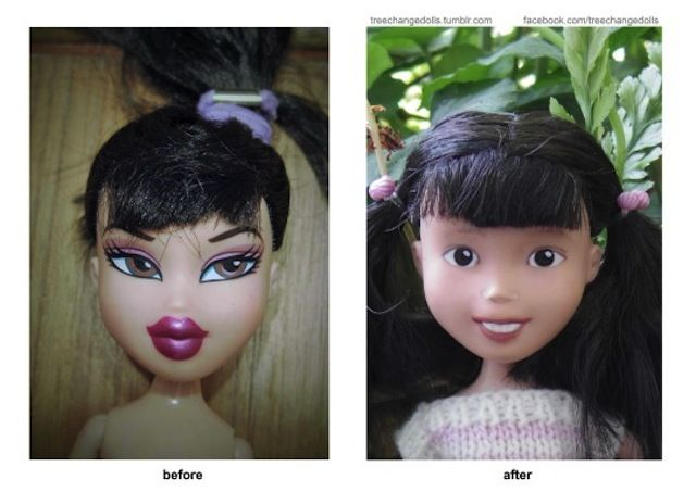 How to remove the makeup from a hideous Bratz doll and turn it into a realistic girl doll.