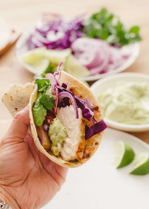 fish tacos with avocado cilantro sauce homemade awesome
