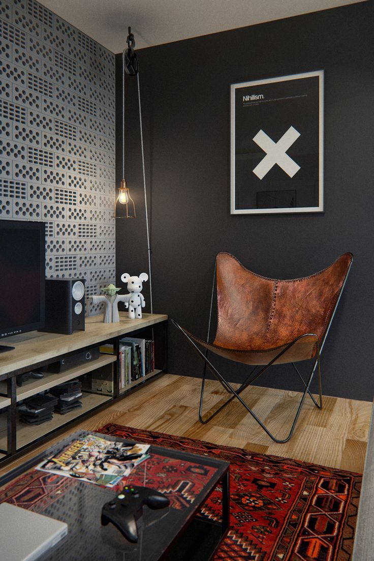 Coin Tv, ambiance masculine | tv room, Black wall