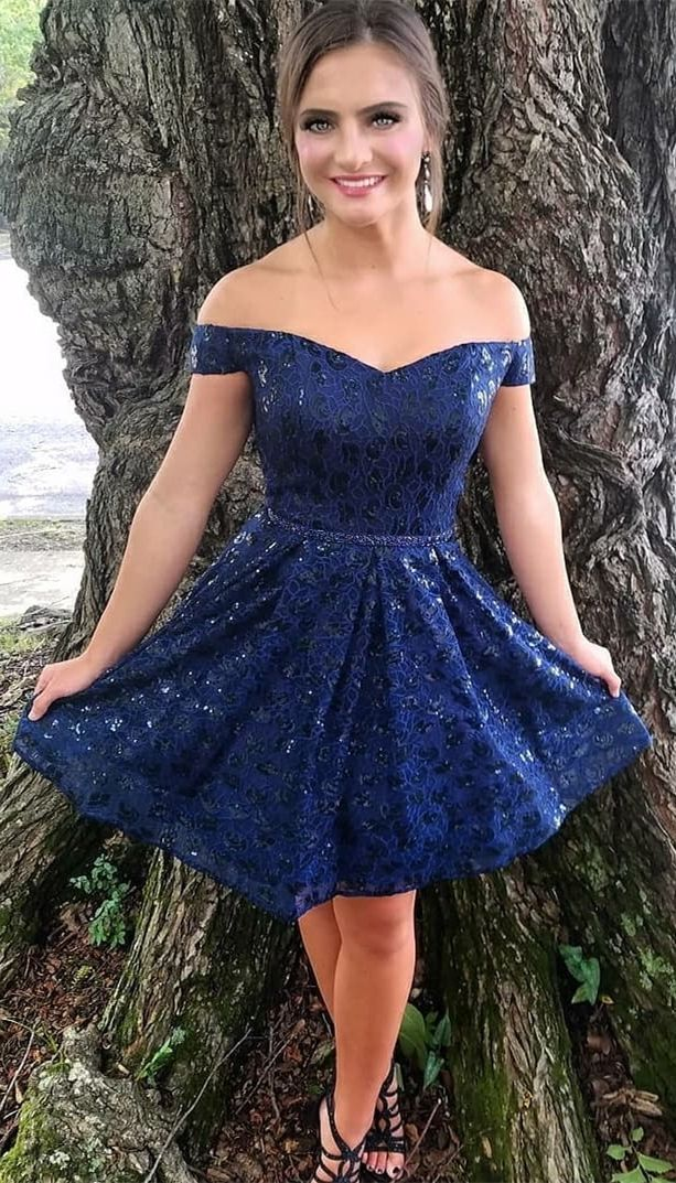 25b8effe83a A-Line Off-the-Shoulder Above-Knee Royal Blue Lace Homecoming Dress ...