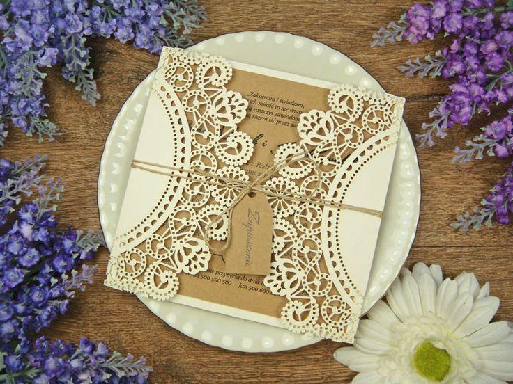 rustykalne zaproszenia na ślub z kolekcji Lukrecja wzór 59     Zaproszenia ślubne laserowe, kartki 3D